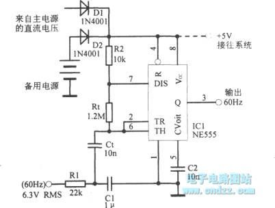 60Hz clock oscillation signal circuit with 555 timer
