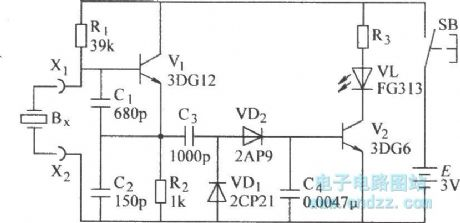 The quartz crystal oscillator test circuit diagram