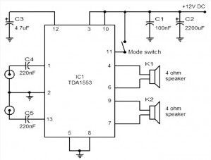 Car stereo amplifier based TDA1535