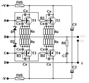 Amplifier Circuit using MOSFET Output Stage