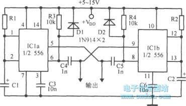 Dual astable multivibrator using 556