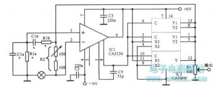 The capacitive adjustable Wien bridge oscillator with op amp CA3130