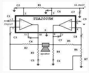 20 Watt Power Amplifier Based Tda2005 Amplifier Circuit Circuit