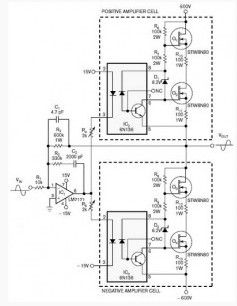 Inverting Amplifier Uses Two Class AB Amplification Isolated Cells