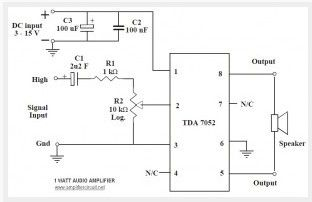 1W Audio Amplifier Circuit based TDA7052