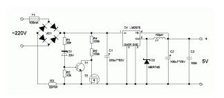 Transformerless power supply from 220V with LM2575