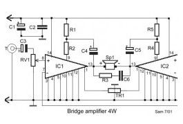 4W Bridge Amplifier using LM388