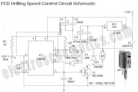 PCB Drill Speed Controller with 555