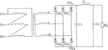The three-phase bridge rectifier pop n-type filter circuit