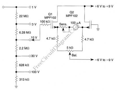 Keyword low drift high impedance jfet dc voltmeter from seekic