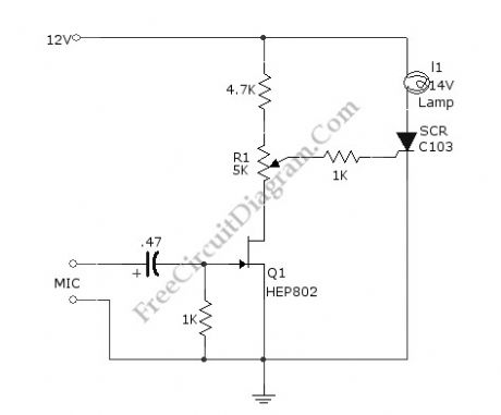 Sound-Activated Lamp circuit diagram (Relay/Switch)