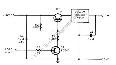 Logic Power Control circuit diagram for 78xx Regulator