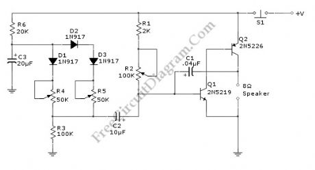 Discrete Sliding Tone (Frequency Ramp) Doorbell circuit