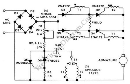 Series-Wound Direction And Speed Motor Control circuit