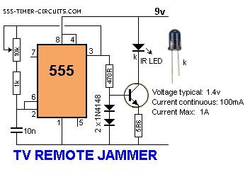 TV REMOTE CONTROL JAMMER Circuit