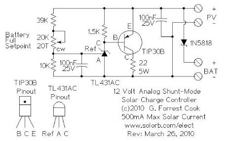 Analog Shunt-mode 12V 500mA Solar Charge Controller