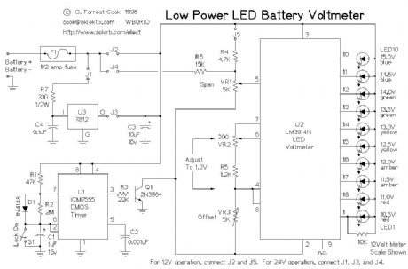 Low Power LED Voltmeter