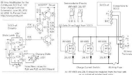 Inversor Hibrido 3000va 24v Mppt 60ah 14 P as well Lithium Ion Battery Charger For Solar Powered Systems 122 additionally Parallel Charging Using Multiple Controllers Separate Pv Arrays also Solar  m Charge Controller Circuit Diagram as well Gel Battery Wiring Diagram. on solar 12v 60a battery charger circuit diagram
