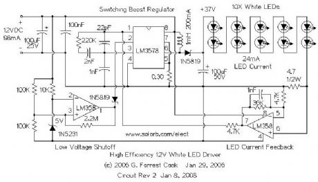 High Efficiency 12V White LED Driver