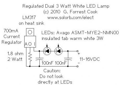 Regulated Dual 3 Watt White LED Lamp