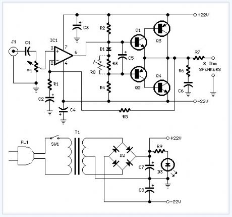 18w Audio Amplifier electronic circuit
