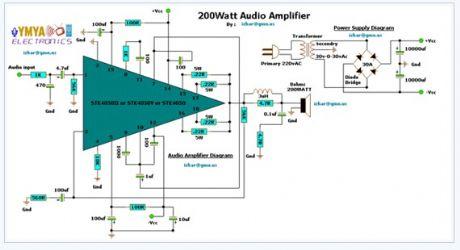 200w Audio Amplifier electronic circuit