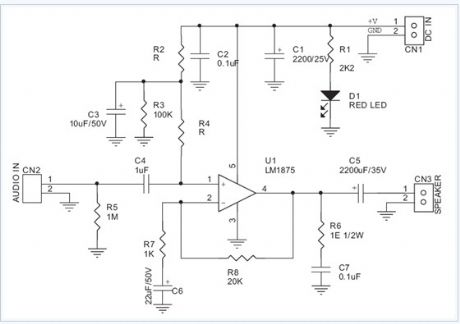 20w Audio Amplifier Using Lm1875 electronic circuit