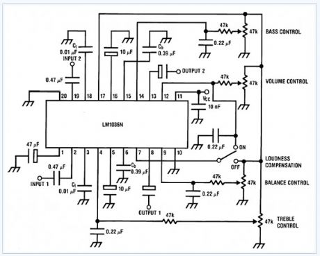 Bass-treble Tone Control Circuit electronic circuit diagram
