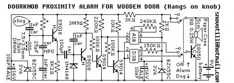 Doorknob Proximity Alarm for wooden door