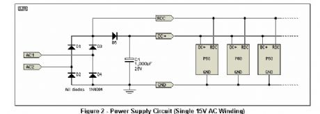 Power Supply Circuit (Single 15V AC Winding)