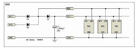 Power Supply Circuit (Two 15V AC Windings - 15-0-15)