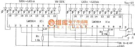 20-bit LED / line conversion circuit with two LM3914