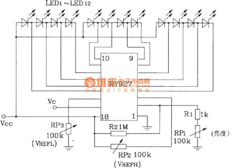 The typical application circuit of RY927 multi- segment LED driving linear display