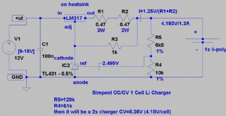 Simplest DIY Li-Polymer Charger Schematic