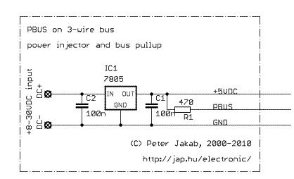 PBUS communication bus for connecting microcontroller-based devices