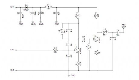 Automicro TM02 high power transmitter module schematic