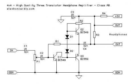 4x4 - Three Transistor Headphone Amplifier