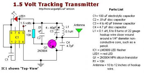 simple 1.5 Volt tracking transmitter.
