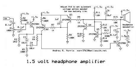 1.5 Volt Headphone Amplifier