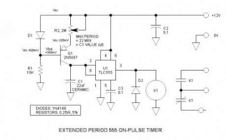 Extended Period 555 On-Pulse Timer