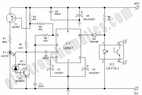 Index12 in addition Infrared Model Train Detector in addition The Cheap Fire Alarm Circuit Using Infrared additionally Basic Ir Sensors as well Pla  Audio  lifier Schematic. on infrared receiver circuit