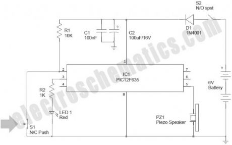 PIC12F635 Based Door Alarm System