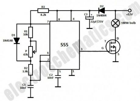 Dim 12V Light Bulb with 555 IC