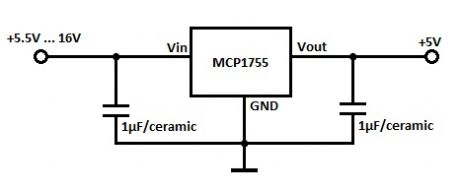 LDO 5V Voltage Regulator with MCP1755
