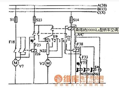 Santana 2000GLs car air conditioning system circuit diagram