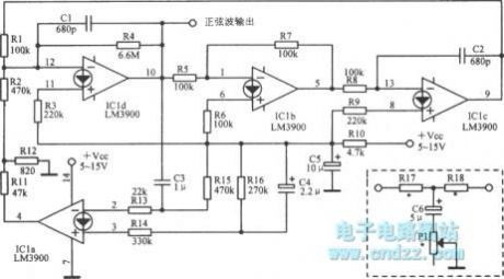 2.34kHz sine wave oscillator circuit diagram