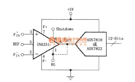 Composed of INA331/332 direct drive capacitive input A/D converter