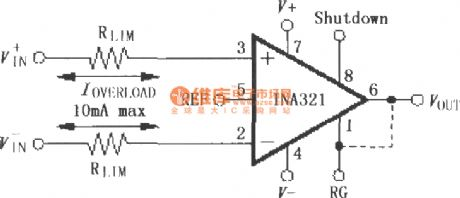 Input current protection circuit constituted by the INA321/322