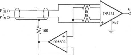 INA131 configuration of the shield drive circuit