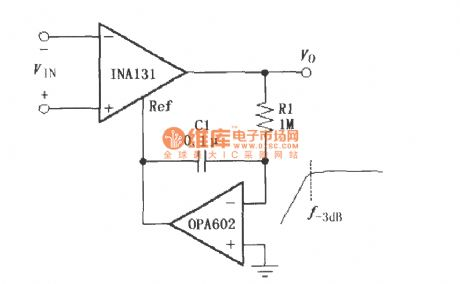 Constituted by the INA131 AC-coupled instrumentation amplifier